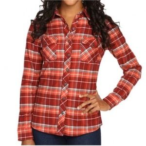 KUHL Alina Red Spice Plaid Flannel Button Down Top